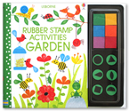 Usborne Rubber Stamp Activities Garden with 6 Colourful Ink Pads & 6 rubber stamps