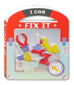 I Can Fix It Board Book with play pieces to slot into the pages