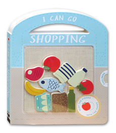 I Can Go Shopping Board Book with play pieces to slot into the pages