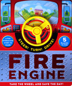 Fire Engine Board Book with Steering Wheel and 5 Places to Find (Steer! Turn! Drive!)