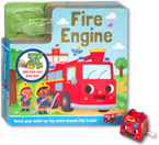 Fire Engine Board Book with Fold-Out Play Track and Red Fire Engine wind-up toy