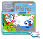 Little Plane Board Book with Fold-Out Play Track and Plane wind-up toy