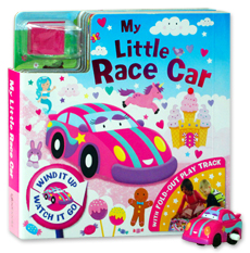 My Little Race Car Board Book with Fold-Out Play Track and Pink Car wind-up toy