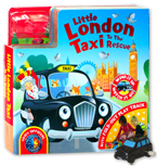 Little London Taxi to the Rescue Board Book with Fold-Out Play Track and Black London Taxi wind-up toy