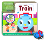 Little Train Board Book with Fold-Out Play Track and Blue Train wind-up toy