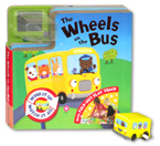 The Wheels on the Bus Board Book with Fold-Out Play Track and Yellow Bus wind-up toy