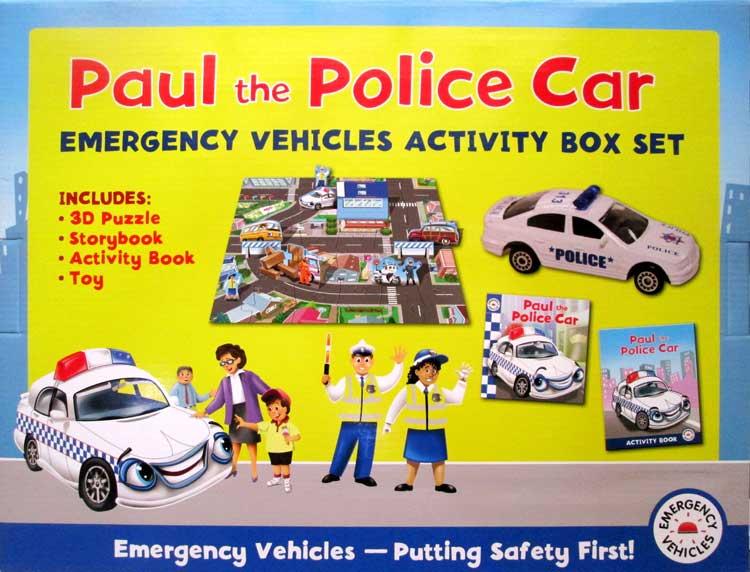 Paul the police car emergency vehicle activity box set buku anak import - Radio car poli ...