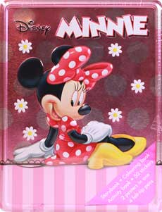 Happy Tin Disney Minnie Mouse Tin Box (Storybook, Colouring Book, Activity Book, 50 Stickers, 2 Posters in 1, 4 Felt-Tip Pens)