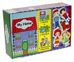My Home Play Set (Book, Puzzle, 5 Wooden Figures/People Toys)