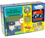 My Little Train Station Play Set (Book, Puzzle, 2 Wooden Train Toy)