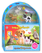 My Mini Busy Book Baby Animals includes 4 Figurines, a Playboard and a Board Book!