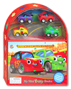 My Mini Busy Book Stock Car Superstars includes 4 Figurines, a Playboard and a Board Book!