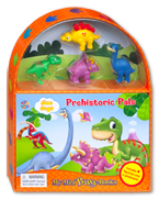 My Mini Busy Book Dino Days Prehistoric Pals includes 4 Figurines, a Playboard and a Board Book!