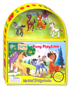 My Mini Busy Book Playful Ponies Pony Playtime includes 4 Figurines, a Playboard and a Board Book!