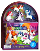 My Mini Busy Book Land of Unicorns  includes 4 Figurines, a Playboard and a Board Book!