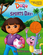 My Busy Book Dora the Explorer Sports Day  includes a Storybook, 12 Toy Figurines and a Giant Playmat