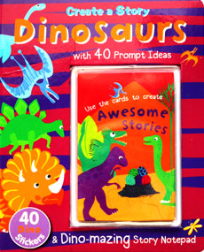 Create a Story Dinosaurs with 40 Prompt Ideas and 40 Dino Stickers