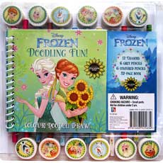 Disney FROZEN FEVER Doodling Fun! Book & Pencil-Eraser Set (32-page Book, 6 grey-lead pencils, 6 coloured pencils, 12 Frozen erasers)