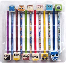 Disney Pixar Doodling Fun! Book & Pencil-Eraser Set (32-page Book, 6 grey-lead pencils, 6 coloured pencils, 12 Disney Pixar erasers)