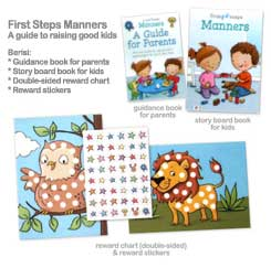 First Steps Manners - A Guide to Raising Good Kids (Storybook, Two-Sided Reward Chart, 48 Reward Stickers, Guidance for Parents)