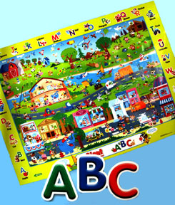 Giant Learning Floor Mat ABC - Search & Find With 3 Write-and-wipe Markers!