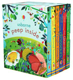 Usborne Peep Inside Collection 6 Books Box Set (the Zoo, Animal Homes, Night Time, Dinosaurs, the Garden, the Farm)
