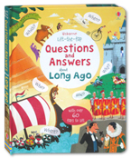 Usborne Lift-the-Flap Questions and Answers about Long Ago Board Book with over 60 flaps to lift