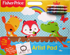 Fisher Price Artist Pad with over 40 reusable stickers, 3 double-colour crayons and lots of colouring pages