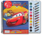 Disney Pixar Cars Deluxe Poster Paint & Color Book (80 Illustrations, 10 Water Paint Colors, 12 Crayons, 1 Paintbrush)