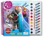 Disney Frozen II Deluxe Poster Paint & Color Book (80 Illustrations, 10 Water Paint Colors, 12 Crayons, 1 Paintbrush)