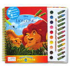 Disney The Lion King Deluxe Poster Paint & Color Book (80 Illustrations, 10 Water Paint Colors, 12 Crayons, 1 Paintbrush)
