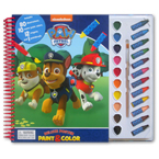 Paw Patrol Deluxe Poster Paint & Color Book (80 Illustrations, 10 Water Paint Colors, 12 Crayons, 1 Paintbrush)