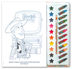 Disney Pixar Toy Story 4 Deluxe Poster Paint & Color Book (80 Illustrations, 10 Water Paint Colors, 12 Crayons, 1 Paintbrush)