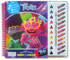 Dreamworks Trolls World Tour Deluxe Poster Paint & Color Book (80 Illustrations, 10 Water Paint Colors, 12 Crayons, 1 Paintbrush)