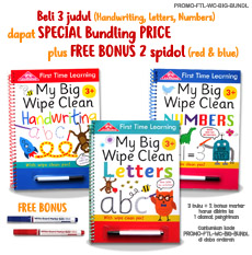 PROMO Special Price Paket Bundling 3 judul First Time Learning My Big Wipe Clean Books + FREE BONUS 2 wipe-clean markers (Red & Blue) (Super Hemat!)