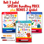 PROMO Special Price Paket Bundling 3 judul First Time Learning My Big Wipe Clean Books + FREE BONUS 2 wipe-clean markers (Red & Blue)