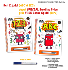 PROMO Special Price Paket Bundling 2 Judul Help With Homework 3+ Wipe-Clean Books (ABC & 123) + FREE BONUS 1 wipe-clean markers (Blue) (Super Hemat!)