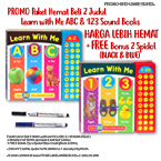 PROMO Paket Hemat Beli 2 buku Learn with Me ABC & 123 Sound Books with total over 60 fun alphabet & number sounds + FREE Bonus 2pcs Spidol Wipe-Clean (Black & Blue)