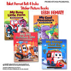 Paket Hemat Beli 4 buku Sticker Picture Books (Dino, Building Site, Things that Go, Farm)