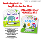Paket Carry Me Wipe Clean Board Book SHAPES & ANIMALS + FREE BONUS wipe-clean marker Blue