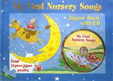 My First Nursery Songs Jigsaw Board Book with CD (Four 12-piece jigsaw puzzles)
