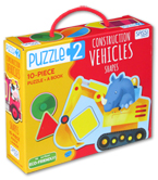 Puzzle 2: Construction Vehicles Shapes (Includes 10 Piece Puzzle + A Book)