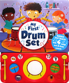 My First Drum Set Board Book with 4 songs and 5 drum sounds