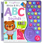 First Steps Write & Wipe ABC with Sounds includes wipe-off marker, 26 alphabet sounds, 1 alphabet song