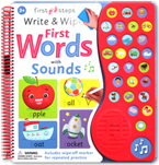 First Steps Write & Wipe First Words with Sounds includes wipe-off marker & 27 sounds (26 First Words sounds and 1 melody button)