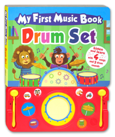 My First Music Book Drum Set Board Book with 4 songs and 5 drum sounds
