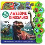 Awesome Dinosaurs Tabbed Sound Board Book with 10 Dinosaurs Sounds & Epic Facts On Every Page