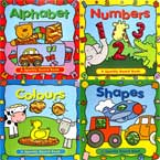 Early Concepts Sparkly Board Book Set with Sparkling Pictures (4 Board Books: Alphabet, Numbers, Colours, Shapes)