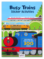 Busy Trains Sticker Activities Book With Press-out Vehicles and Over 300 Stickers