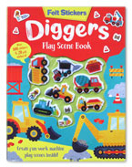 Diggers Play Scene Book With 20 Felt Stickers & Over 100 Stickers